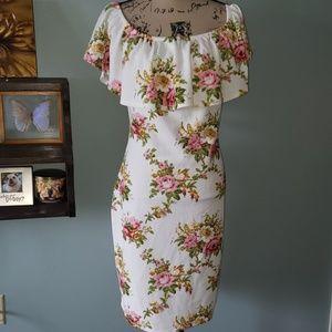 New Love J Plus Floral Off Shoulder Flounce Dress